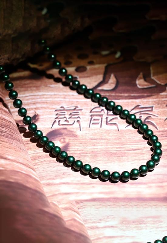慈能灸石项链-墨绿色