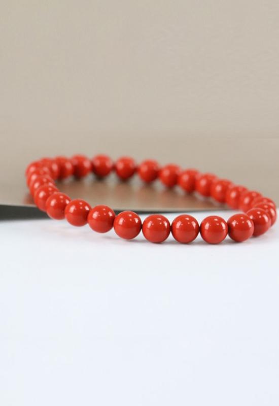 慈能灸石手链-珊瑚红