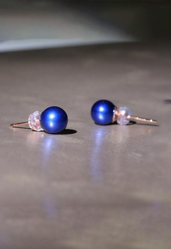 慈能灸石养生耳钉-宝蓝色