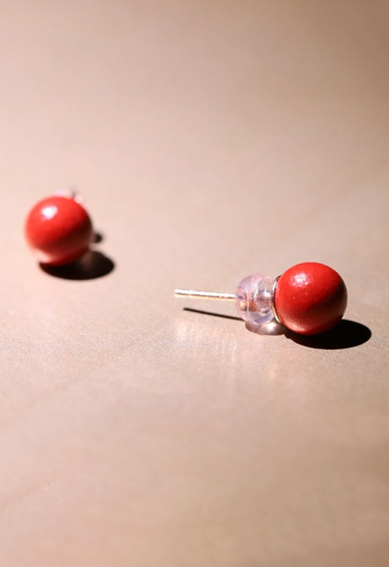 慈能灸石耳钉-红色